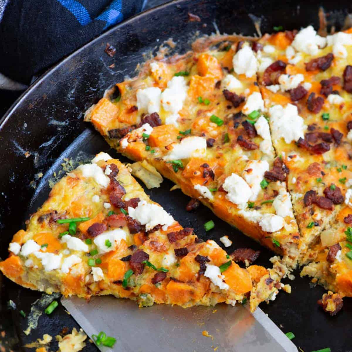 A slice of a sweet potato frittatta