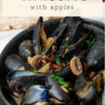 Mussels with Apples in a bowl.