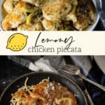 A platter of chicken piccata and an individual serving over pasta