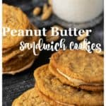 A stack of Peanut Butter Sandwich Cookies with milk