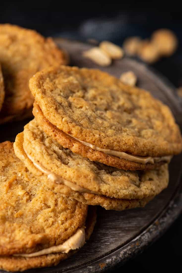 Peanut Butter Sandwich Cookies on a wooden platter