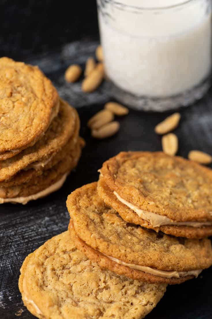 Peanut Butter Sandwich Cookies with a glass of milk