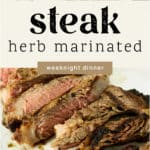 Herb Marinated Steak on a plate.