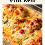 Queso Chicken in a casserole dish.