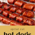 Spiral Cut Hot Dogs on a plate.