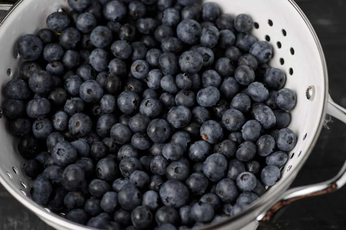 A white colander of fresh blueberries