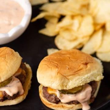 A platter of Smash burgers