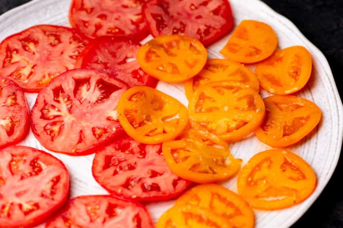 Sliced tomatoes on a platter