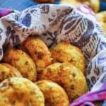 A basket of Sausage Bagel Muffins