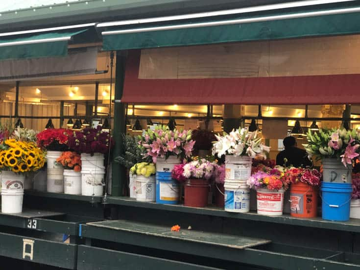 A flower stall at Pike's Place Market