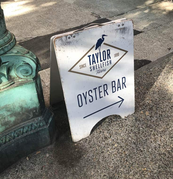 A sign for Taylor's Shellfish