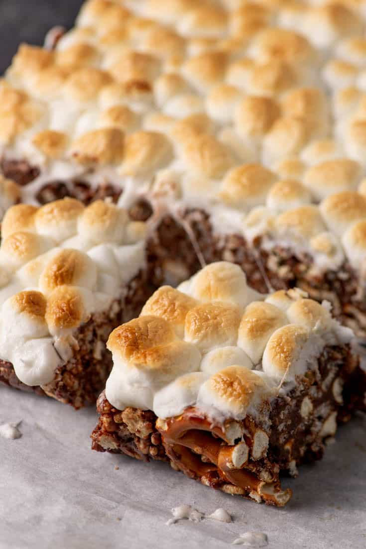 A batch of S'mores dessert Bars on parchment