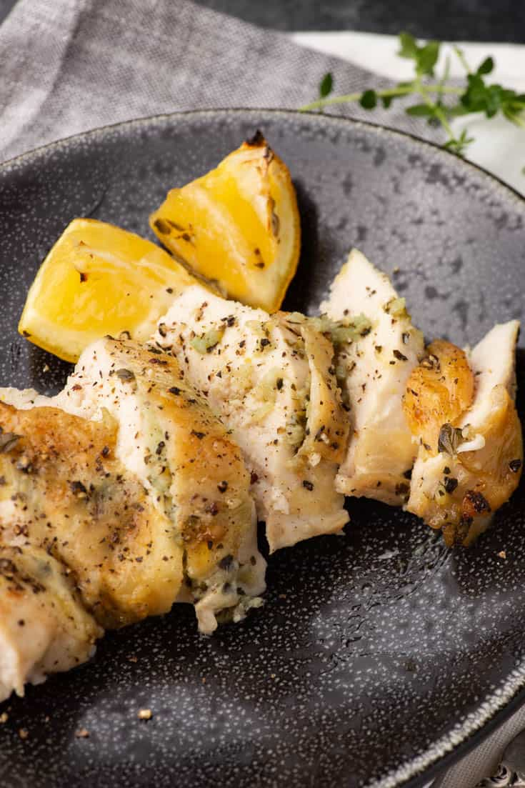 Sliced Lemon Garlic Chicken on a plate