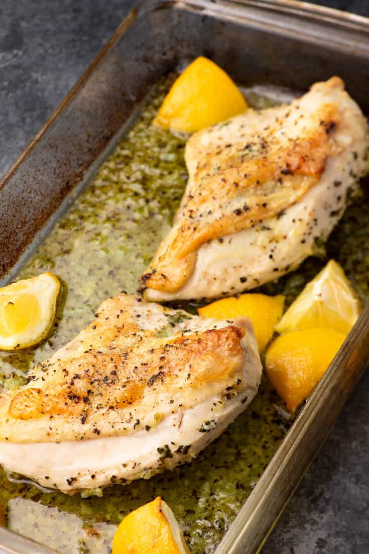 Cooked Lemon Garlic Chicken in the roasting pan
