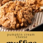 Pumpkin Cream Cheese Muffins in a muffin pan.