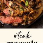 Steak Marsala on a plate.