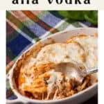 Baked Spaghetti alla Vodka in a casserole dish.