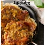A serving of chicken saltimbocca with artichokes over pasta
