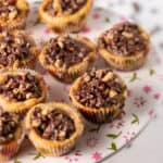 A platter of chocolate chip tarts
