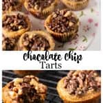 Chocolate chip cookie tarts on a platter