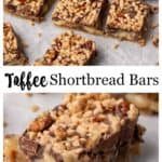 Shortbread Toffee Bars on parchment