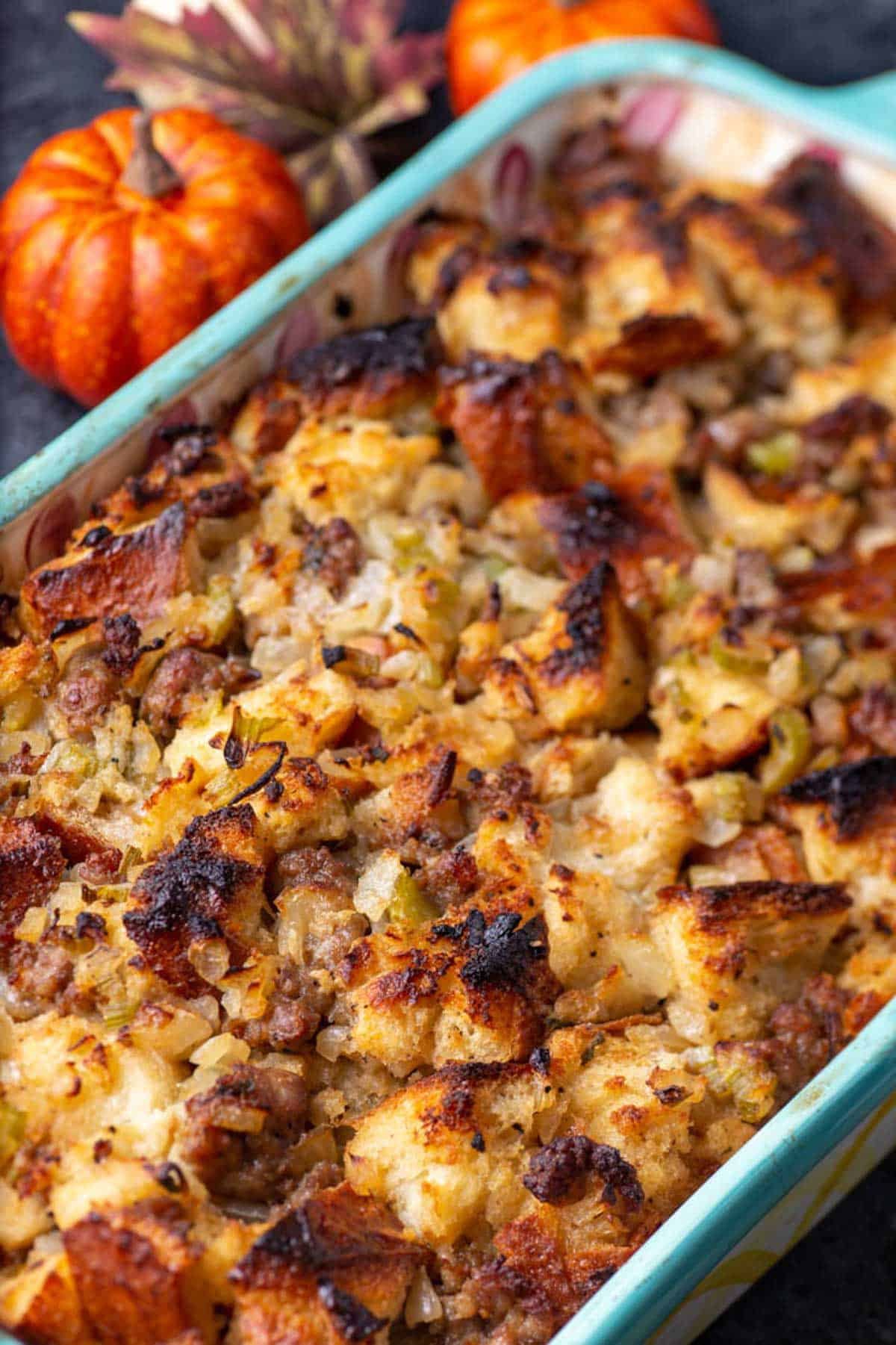A casserole dish of baked stuffing.