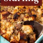 Stuffing in a casserole dish.