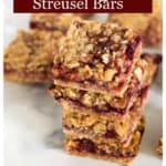 A stack of cherry streusel bars