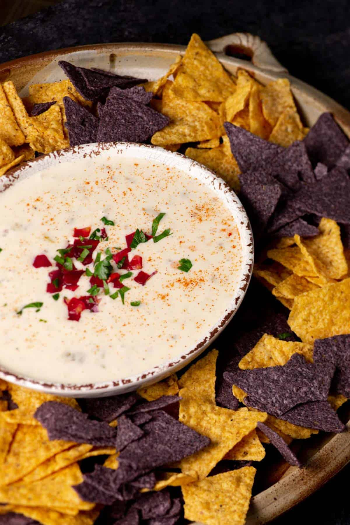 A bowl of queso dip with chips around it.