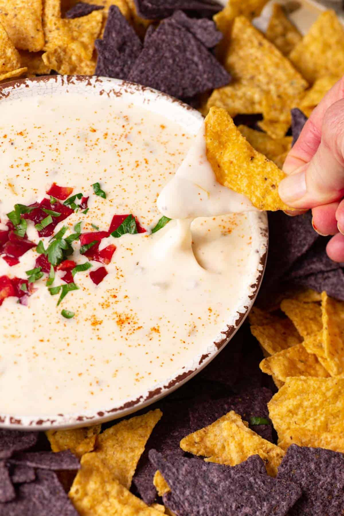 A chip being dipped into white queso dip.