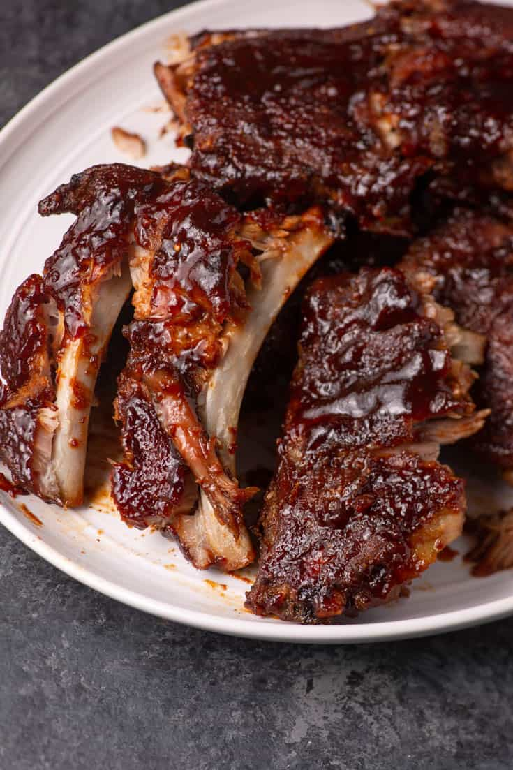 A platter of slow cooker ribs