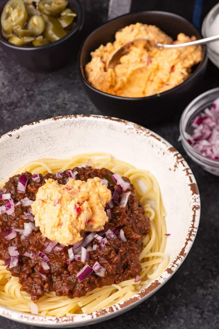 A bowl of Three way Cincinnati chili