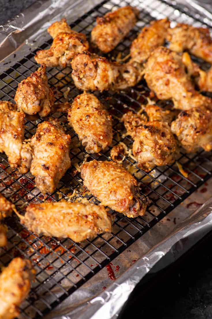 A rack of baked parmesan chicken wings
