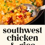 One Pot Southwest Chicken and Rice in a pot.