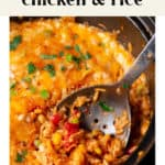 A close up photo of One Pot Southwest Chicken and Rice.