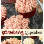 A platter of strawberry filled cupcakes with cream cheese frosting
