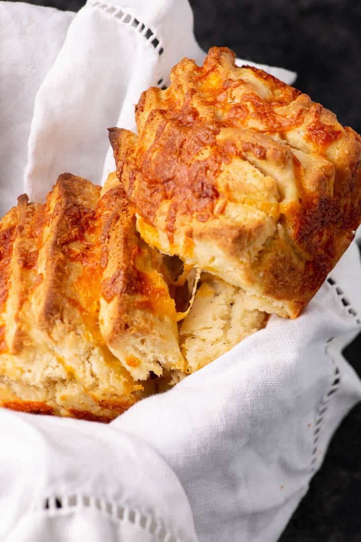 A basket filled with pull apart bread