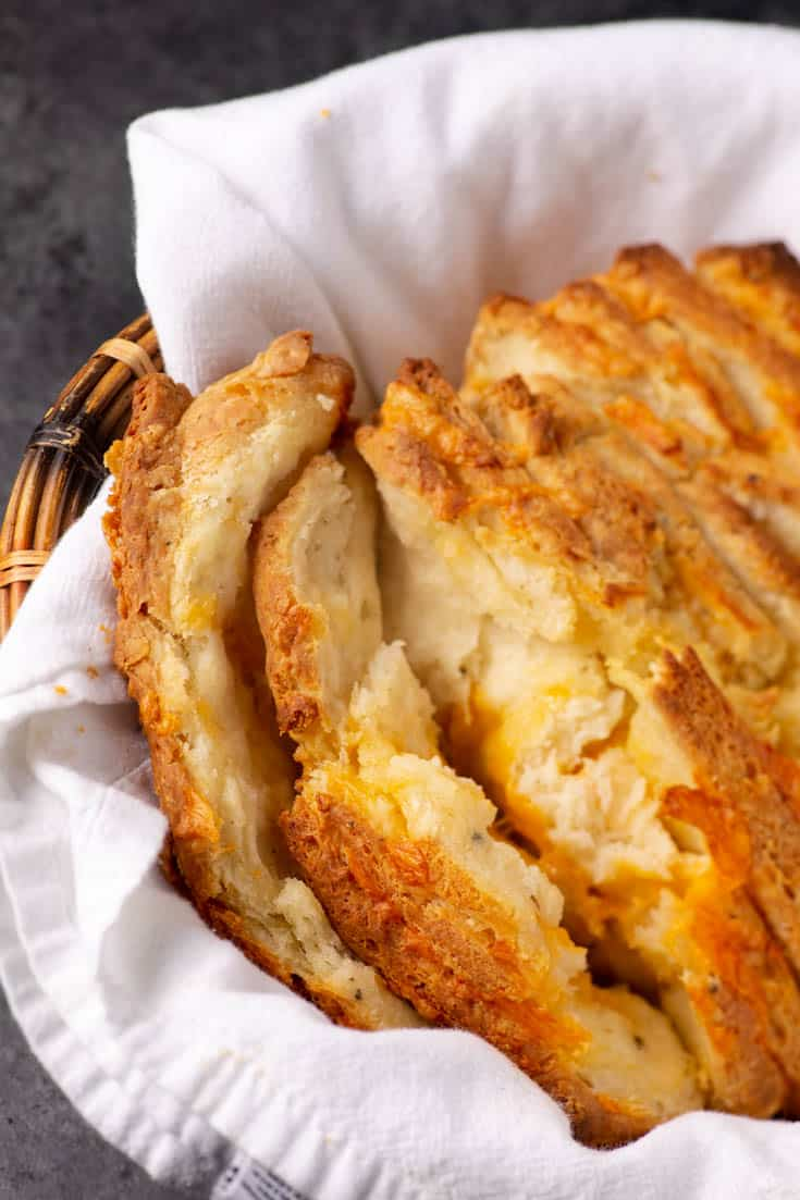 A basket of pull apart bread
