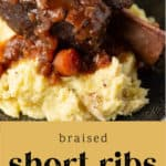 A plate of Braised Short Ribs over mashed potatoes.