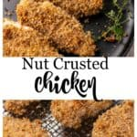 A plate of nut crusted chicken