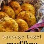 Sausage Bagel Muffins in a basket.