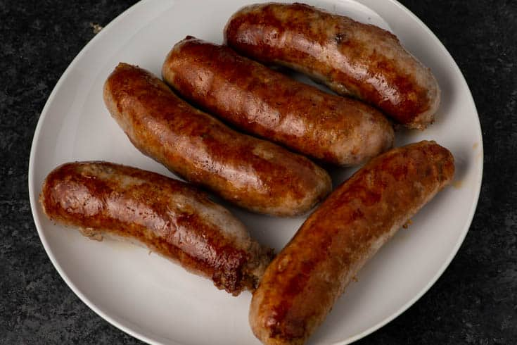 Browned Italian Sausages on a plate