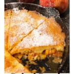 A baked peach pancake in a skillet