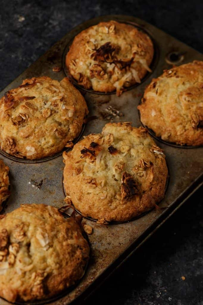 A muffin tip with baked banana muffins