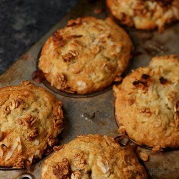 A muffin pan of banana granola muffins