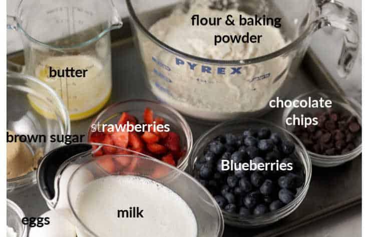Ingredients for sheet pan pancakes