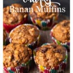 A wooden platter of banana muffins