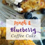 A slice of peach and blueberry bundt cake