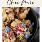 A bowl of 4th of July themed white chocolate chex mix