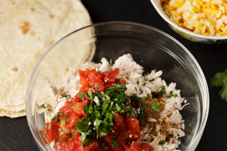 A bowl fo shredded chicken, tomatoes and cilantro